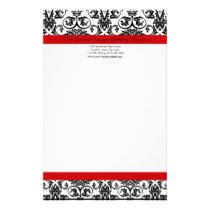 Black/White Damask w/ Ravishing Red Accent Stationery