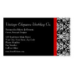 Black/White Damask w/ Red Accent Fashion Business Double-Sided Standard Business Cards (Pack Of 100)