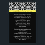 """Black/White Damask w/Vibrant Yellow Flyer<br><div class=""""desc"""">Stylish,  clean and crisp modern black and white damask pattern background with accent strip of vibrant sunny yellow.  A lovely touch for a summer gala or wedding event.  Cheerful and fresh design.  This design is avaliable as a complete matching set!</div>"""