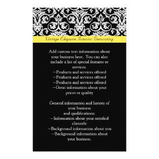 Black/White Damask w/Vibrant Yellow Flyer