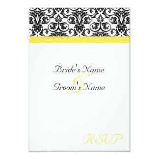 Black/White Damask w/Vibrant Yellow Invite