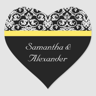 Black White Damask w Vibrant Yellow Heart Sticker