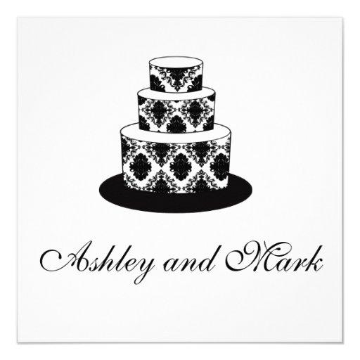 Black White Damask Wedding Cake Silver Invitations
