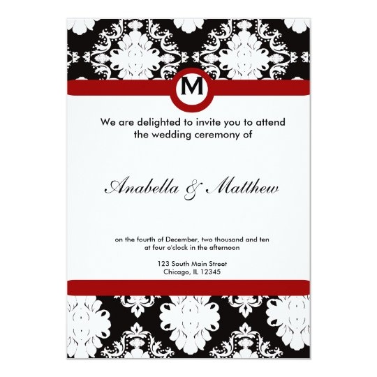 Black & White Damask Wedding Card