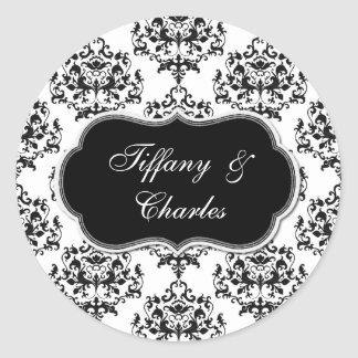 Black & White Damask Wedding Envelope Seal Sticker