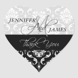 Black White Damask Wedding Favor Heart Sticker