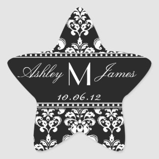 Black White Damask Wedding Favour Label Star Sticker