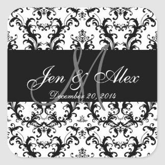 Black White Damask Wedding Favour Sticker