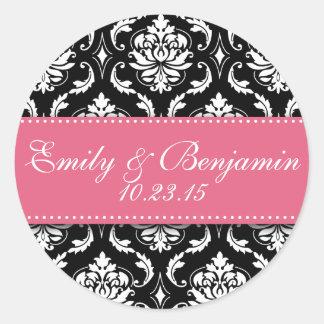 Black White Damask Wedding Favour Stickers Pink