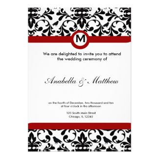 Black & White Damask Wedding Personalized Invitations