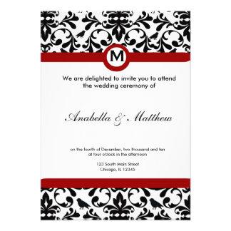 Black & White Damask Wedding Personalized Invitations