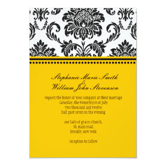 Black & White Damask Wedding Invitation