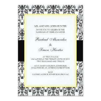 Black & White Damask Wedding Invitation-yellow 2 Card