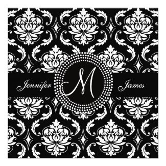 Black White Damask Wedding Invitations