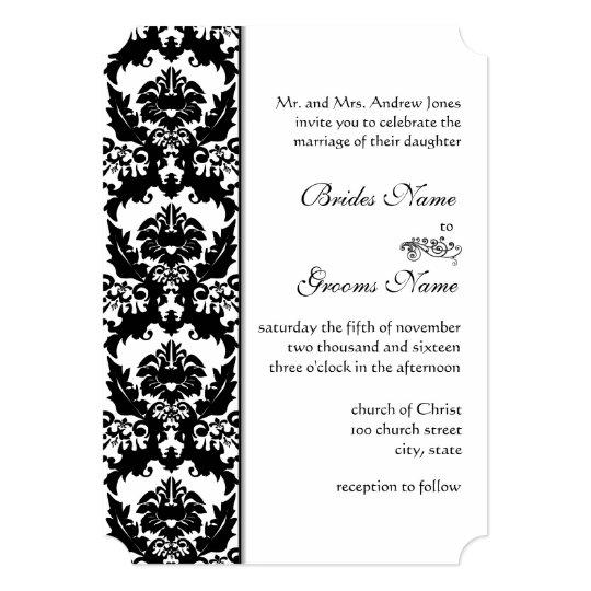 Black & White Damask Wedding Invitations