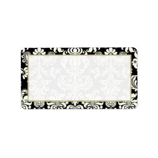 Black/White Damask Wedding Mailing Address Personalized Address Labels