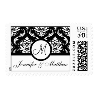 Black & White Damask Wedding Monogram Postage