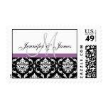 Black White Damask Wedding Monogram Postage Purple