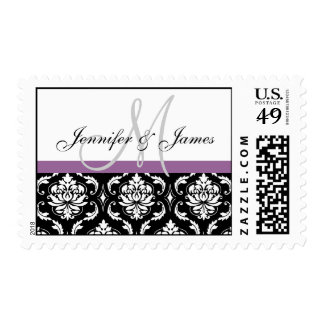 Black White Damask Wedding Monogram Postage Purple