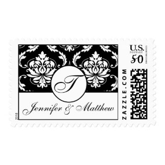 Black & White Damask Wedding Monogram T Postage