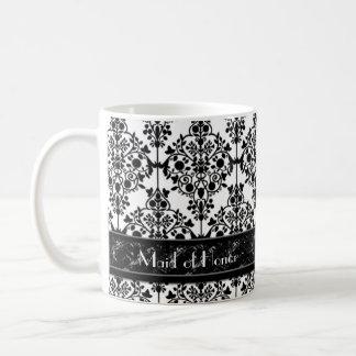 Black & White Damask Wedding Party Custom Coffee Mug
