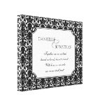 Black white damask wedding personalized canvas art stretched canvas prints