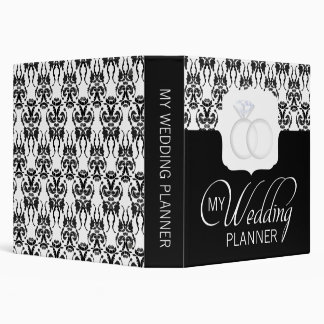 Black & White Damask Wedding Planner Binder
