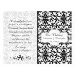Black white damask Wedding program Flyer