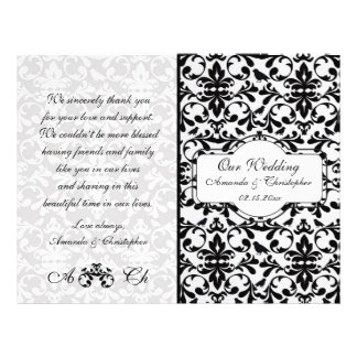Black white damask Wedding program Flyer