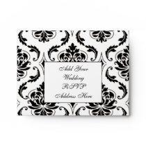 Black White Damask Wedding RSVP A2 Envelope