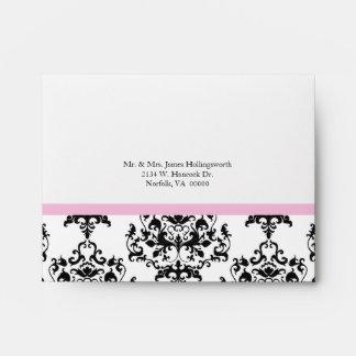 Black & White Damask Wedding RSVP Envelope