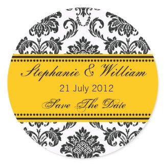 Black & White Damask Wedding Sticker zazzle_sticker