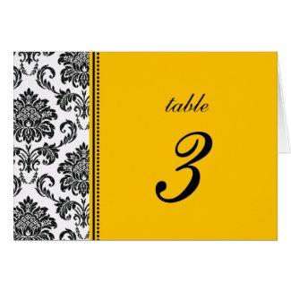 Black & White Damask Wedding Table Number zazzle_card