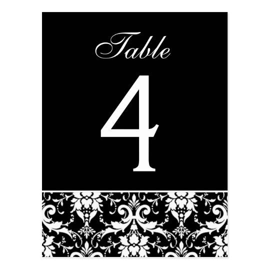 Black White Damask Wedding Table Number Card
