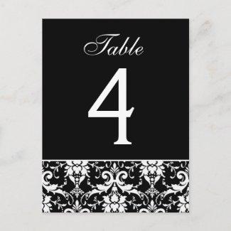 Black White Damask Wedding Table Number Card postcard
