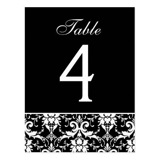 Black White Damask Wedding Table Number Card Postcards
