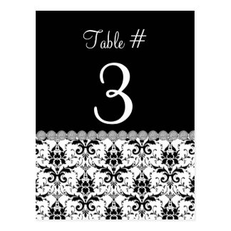 Black & White Damask Wedding Table Number Card Post Cards