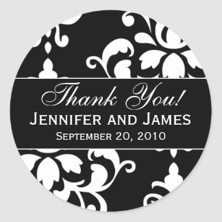 Black White Damask Wedding Thank You Labels