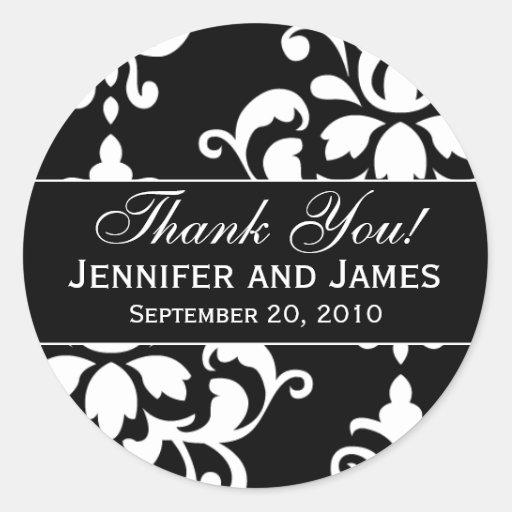 Black White Damask Wedding Thank You Labels Classic Round Sticker