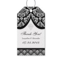 Black White Damask Wedding Thank You Tags