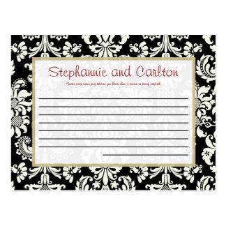 Black/White Damask Wedding Writable Advice Card