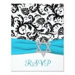 Black, White Damask with Aqua FAUX Ribbon RSVP Personalized Invite