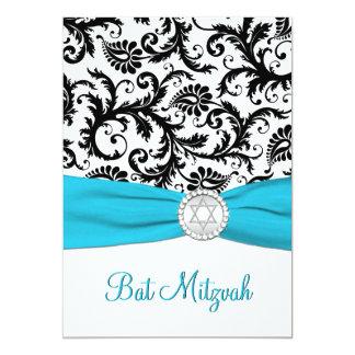 Black, White Damask with Aqua PRINTED RIBBON 5x7 Paper Invitation Card