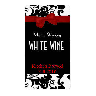 Black, White Damask with Bow Home Made Wine Labels