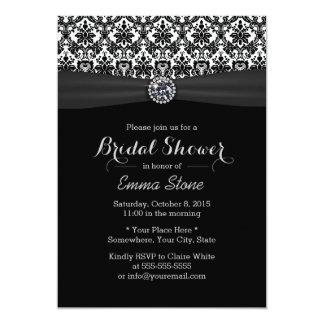 Black & White Damask with Diamond Bridal Shower Card