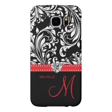 Black & White Damask with Diamond Heart & Monogram Samsung Galaxy S6 Cases