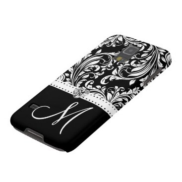 Black & White Damask with Diamond Heart & Monogram Galaxy S5 Cover