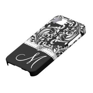 Black & White Damask with Diamond Heart & Monogram iPhone 5 Cases