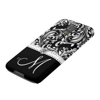 Black & White Damask with Diamond Heart & Monogram Galaxy S5 Cases