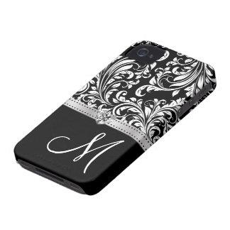 Black & White Damask with Diamond Heart & Monogram iPhone 4 Cover